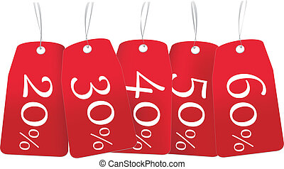 discount labels - several red labels with various discounts...