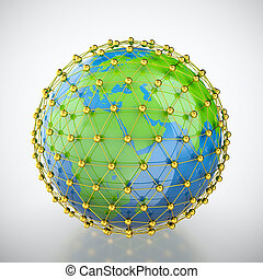 Earth in golden cage - 3D render of earth trapped in golden...