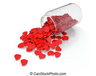 Heart pills spilled from prescription bottle on white...