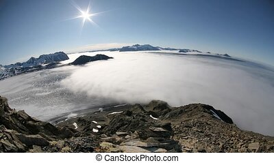 Arctic fiord - sea, clouds, glacier - Arctic environment -...