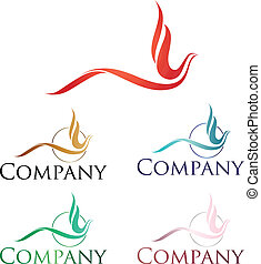Phoenix Logo - Elegant logo design, stylized firebird or...