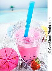 Delicious strawberry Bubbles Tea