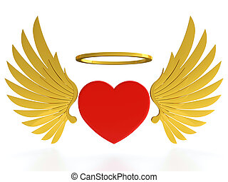 Heart with wings - Red heart with golden wings and halo on...