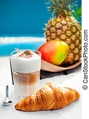Healthy tropical snack with Coffee