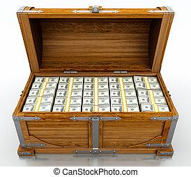Treasure chest full of dollar bills on white background