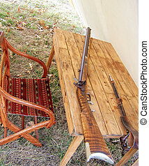 Civil War Reenacters - This is inside of a tent Weapons on...