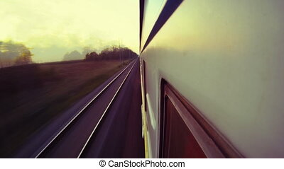 Travelling by passenger train timelapse view from the train...