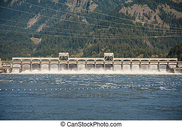 Bonneville Dam, Columbia Gorge - Water spilling from...