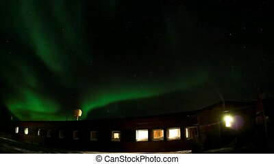 Northern Lights over polar station
