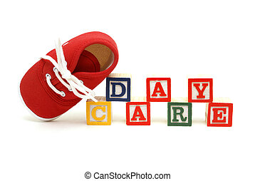 Day Care - An infants shoe next to the words day care.