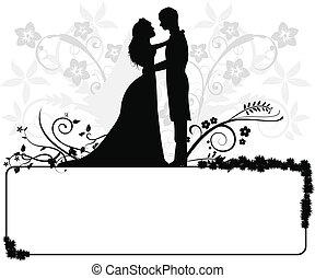 casório, par, silhuetas