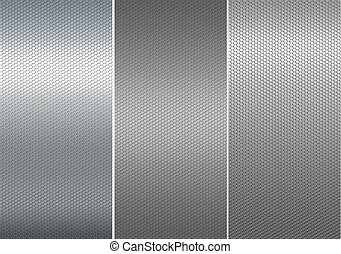 Mesh metal plates. - Three metal mesh texture.
