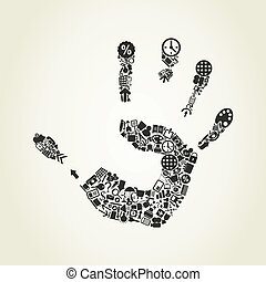 Hand office - Office print of a hand. A vector illustration