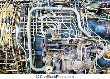 Jet engine innards - The complicated plumbing of tubing...