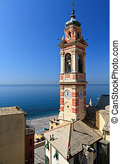 bell tower in Sori, italy - bell tower and village of Sori,...