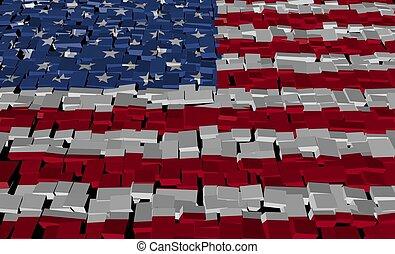 American flag on blocks illustration