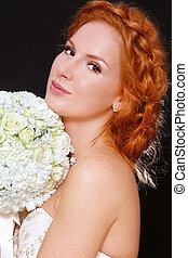 Redhead bride - Young beautiful redhead bride with clear...