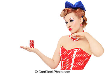 Girl with poker chips - Young beautiful promo pin-up girl in...