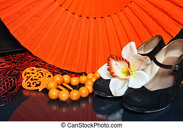 Flamenco accessories - Still-life with bright flamenco...