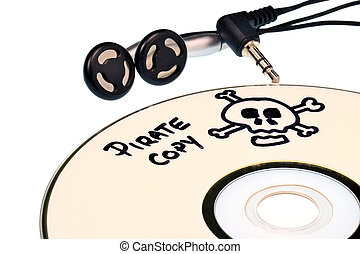 Music piracy concept - Music piracy with pirate copy cd and...