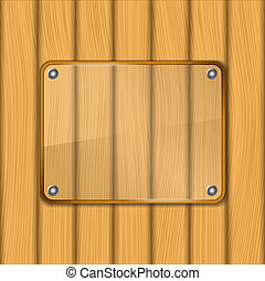 Glass frame on wooden background, vector eps10 illustration