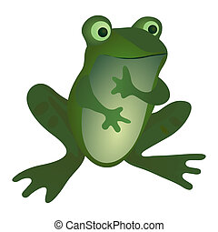 Funny little frog isolated on the white background