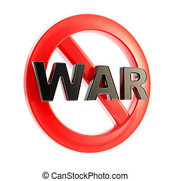 No war forbidden glossy sign isolated