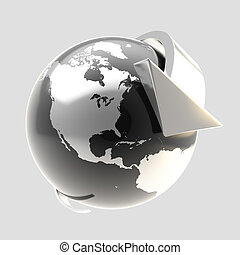 Earth globe symbol with arrow orbit - Earth globe symbol...