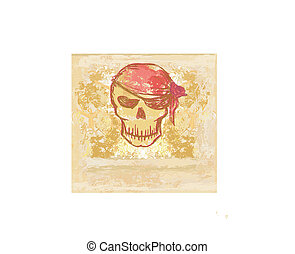Skull Pirate - retro card