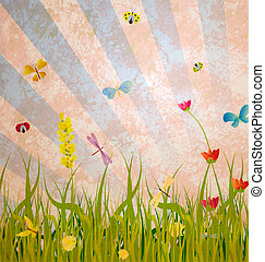 grunge old ctyle meadow with green grass flowers and...