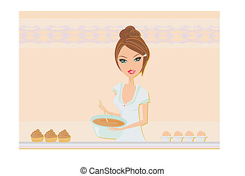 Beautiful lady cooking cakes