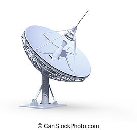 radio telescope isolated on white background, 3d render,...