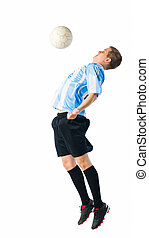 Soccer action - Soccer player trap a ball with his chest