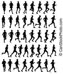 マラソン, ランナー, シルエット