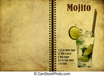 Mojito recipe - Old,vintage or grunge Spiral Recipe Notebook...