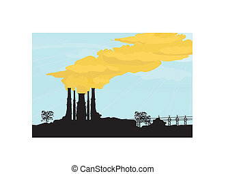 factory chimney - Chick smoke coming out of factory chimney