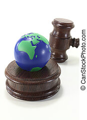 Environmental law with globe and Judge Gavel - brown judges...