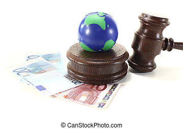 Environmental law - brown judges Gavel with blue and green...
