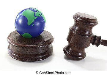 Environmental law with Judge Gavel and Earth - brown judges...