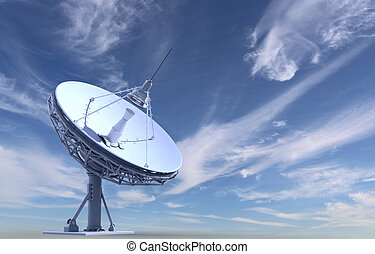 radio telescope on sky background