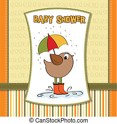 baby shower card with little bird