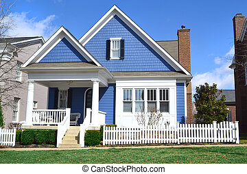 Blue Cape Cod Style House