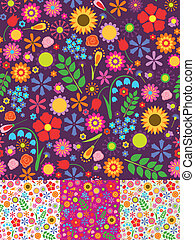 Floral seamless patterns - Four floral seamless patterns