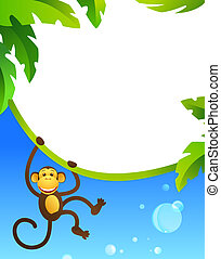 Frame with monkey. EPS10. Contains transparent objects used...