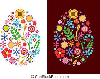 Flowers easter eggs