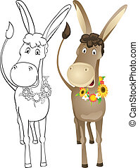 Fun outline donkey - Fun donkey with wreath of flowers....