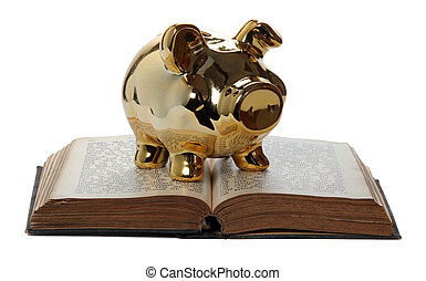 golden piggy bank on old book
