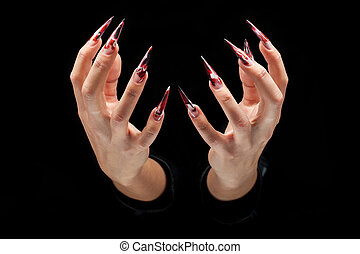 Beauty woman hands with manicured nails