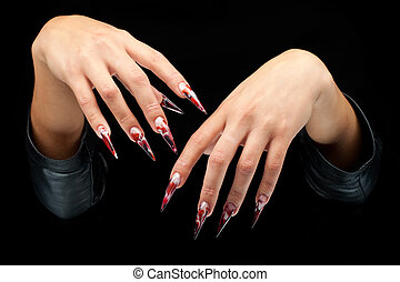 Beatiful woman hands with art nails