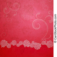 red textured illustration with roses border